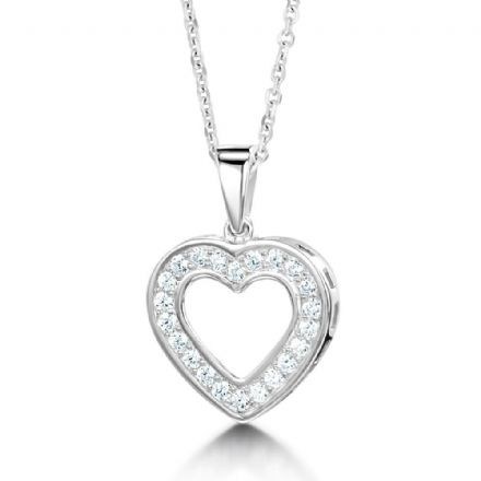 18ct White Gold  G, VS  Diamond pendant stone set heart on plain swinging bail